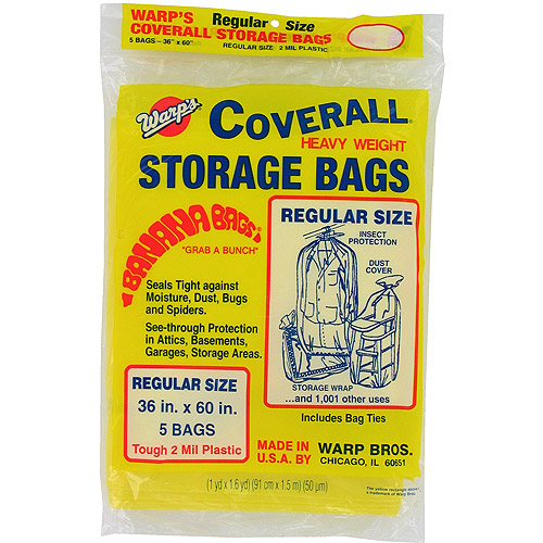 "Warps CB-36 5-Count 36"" x 60"" Regular Size Banana Bags Storage Bags"