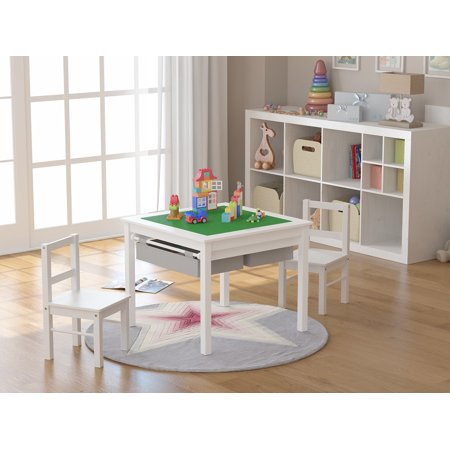 UTEX Wooden 2 In 1 Kids Construction Play Table and 2 Chairs Set with Storage Drawers and Built In Broad, White](Play Tables)