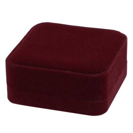 Velvet Square Design Necklace Bracelet Jewelry Gift Storage Holder Box Burgundy