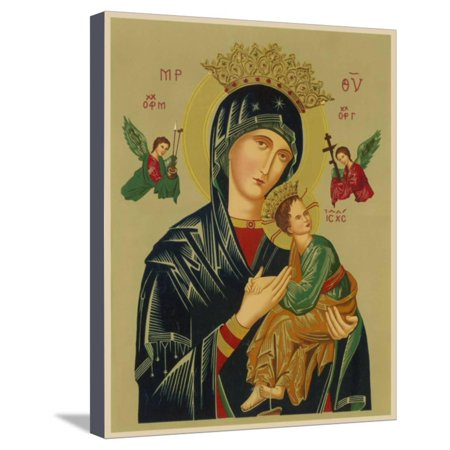 Angels Stretched Canvas - Mary and Jesus with Attendant Angels as Depicted in a Russian Icon Stretched Canvas Print Wall Art