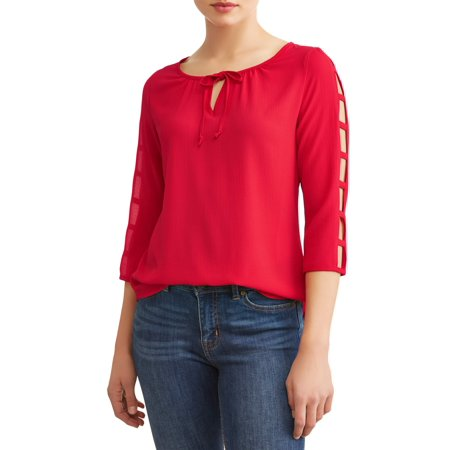 Women's Strappy 3/4 Sleeve Scoop Neck Top (Scoop Neck Empire Top)
