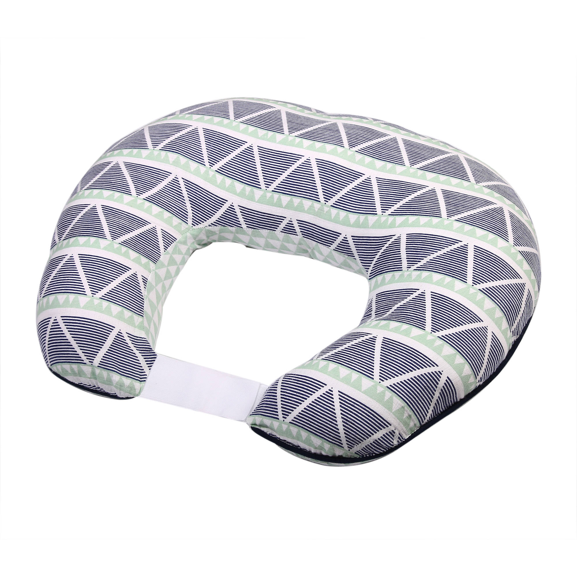 Bacati - Emma Aztec Mint/Navy Large Triangles Muslin Nursing Pillow includes cover and polyfilled pillow insert
