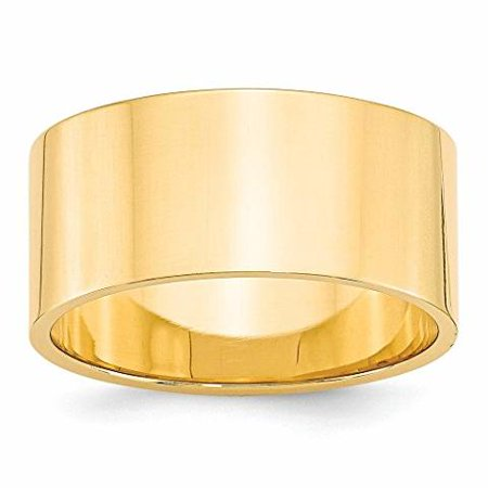 Roy Rose Jewelry 14K Yellow Gold 10mm Flat Wedding Band Ring Size 5.5