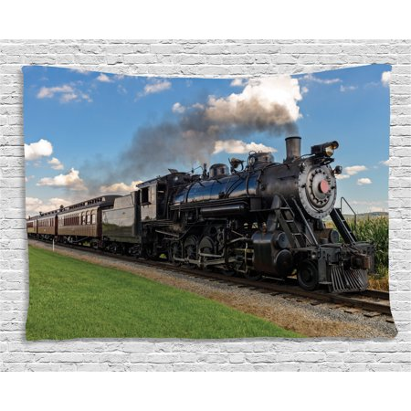 Steam Engine Tapestry, Vintage Locomotive in Countryside Scenery Green Grass Puff Train Picture, Wall Hanging for Bedroom Living Room Dorm Decor, 80W X 60L Inches, Blue Green Black, by Ambesonne](Train Decor)