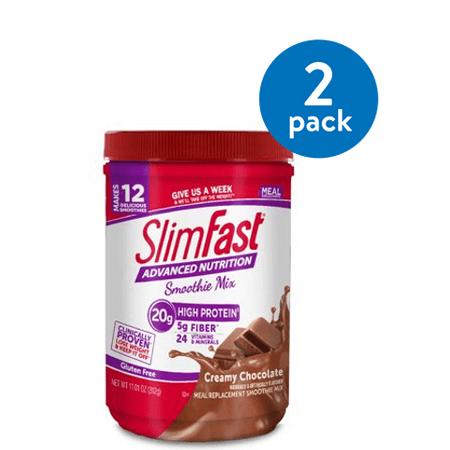 (2 Pack) SlimFast Advanced Nutrition High Protein Smoothie Mix Powder, Creamy Chocolate, 11.4 Oz, 12 - Slim Fast Nutrition