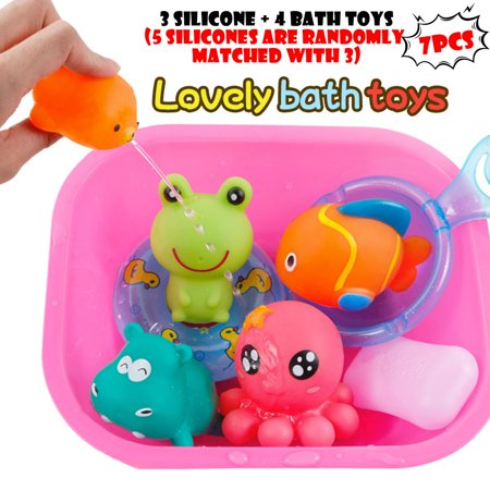 Outtop Baby Bath Toys Cartoon Marine Animals Kids Bathtub Salvage Toys For Toddlers