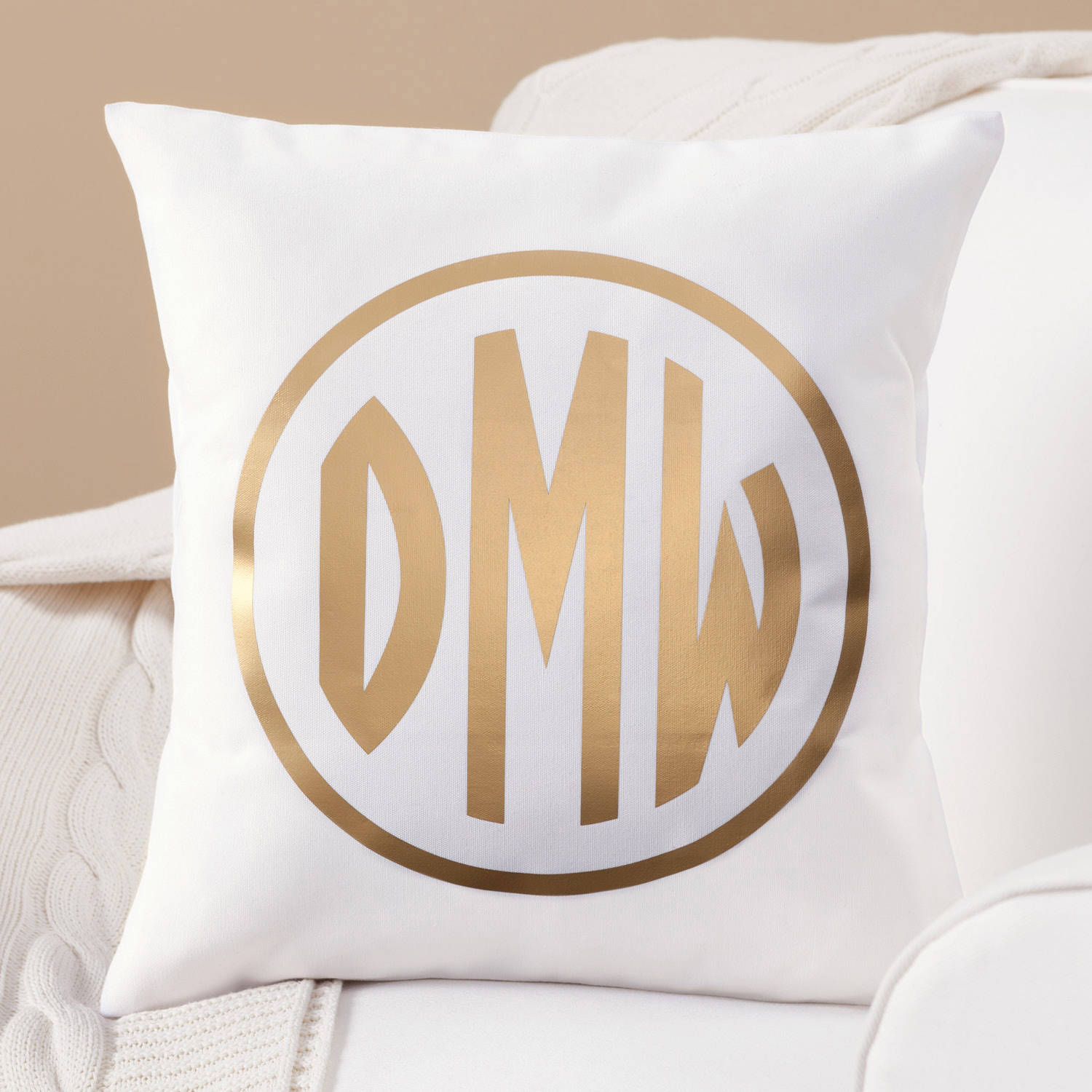 Personalized Gold Monogram Throw Pillow