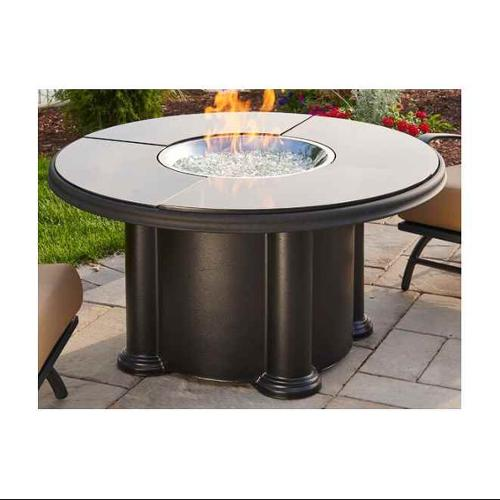 The Outdoor GreatRoom Company Grand Colonial Fiberglass Gas Chat Fire Pit Table