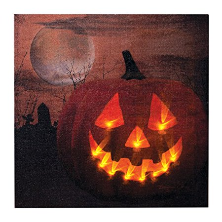 Ohio Wholesale Jack O Lantern Canvas Radiance Lighted Wall Art ()