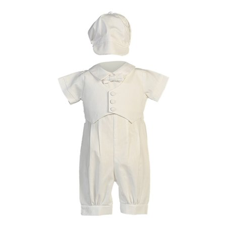 Heirloom Christening Gowns For Boys (Baby Boys White Pique Vest Cotton Romper Baptism Outfit Set)