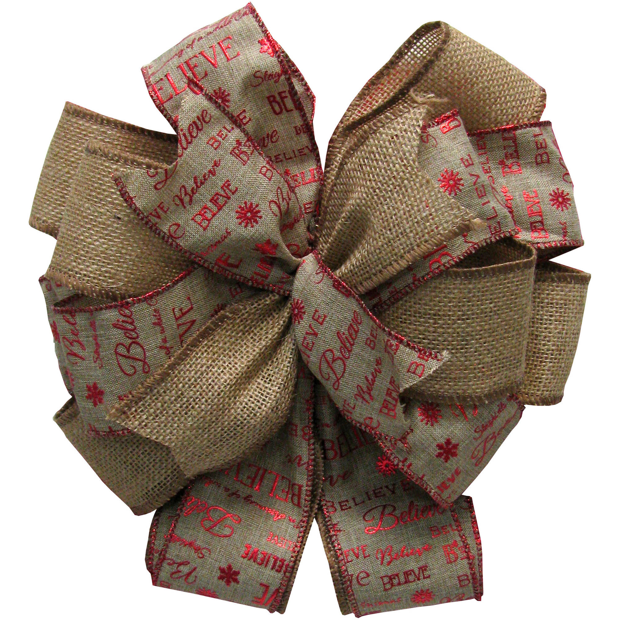 Holiday Time Natural/Red Tree Topper Bow
