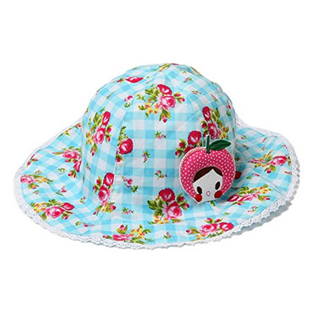 Girls Cute Laced Bottom Blue and White Checkered Boonie Hat with Floral Print and Polka Dotted interior, (Jar Bottom Cap)
