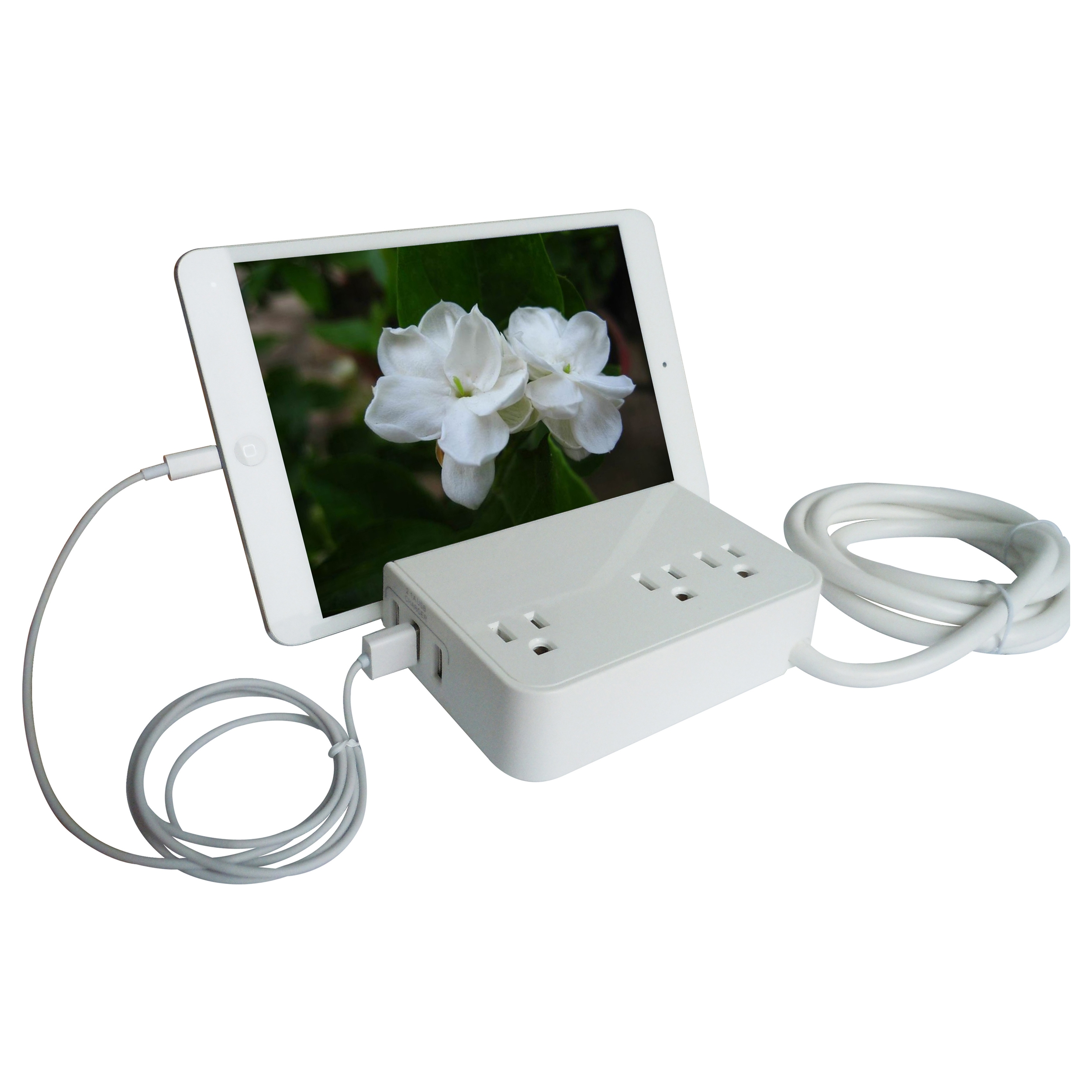 RND Desktop Charging Station with 3 AC Plugs and 3 USB ports Surge Protector for iPhone, Samsung Galaxy, and more, with a slot for iPads and Tablets.