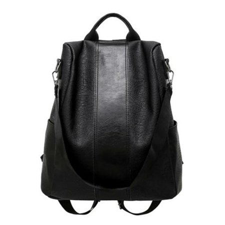 Black Leather Backpack - New Women Leather Backpack Anti-Theft Rucksack School Shoulder Bag Black