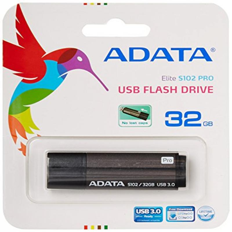 ADATA S102 Pro 32 GB USB 3.0 Ultra Fast Read Speed up to 90 MB/s Flash Drive, Grey (AS102P-32G-RGY)
