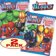 Marvel Heroes Avengers Jumbo Coloring and Activity Book Set (2 Books)