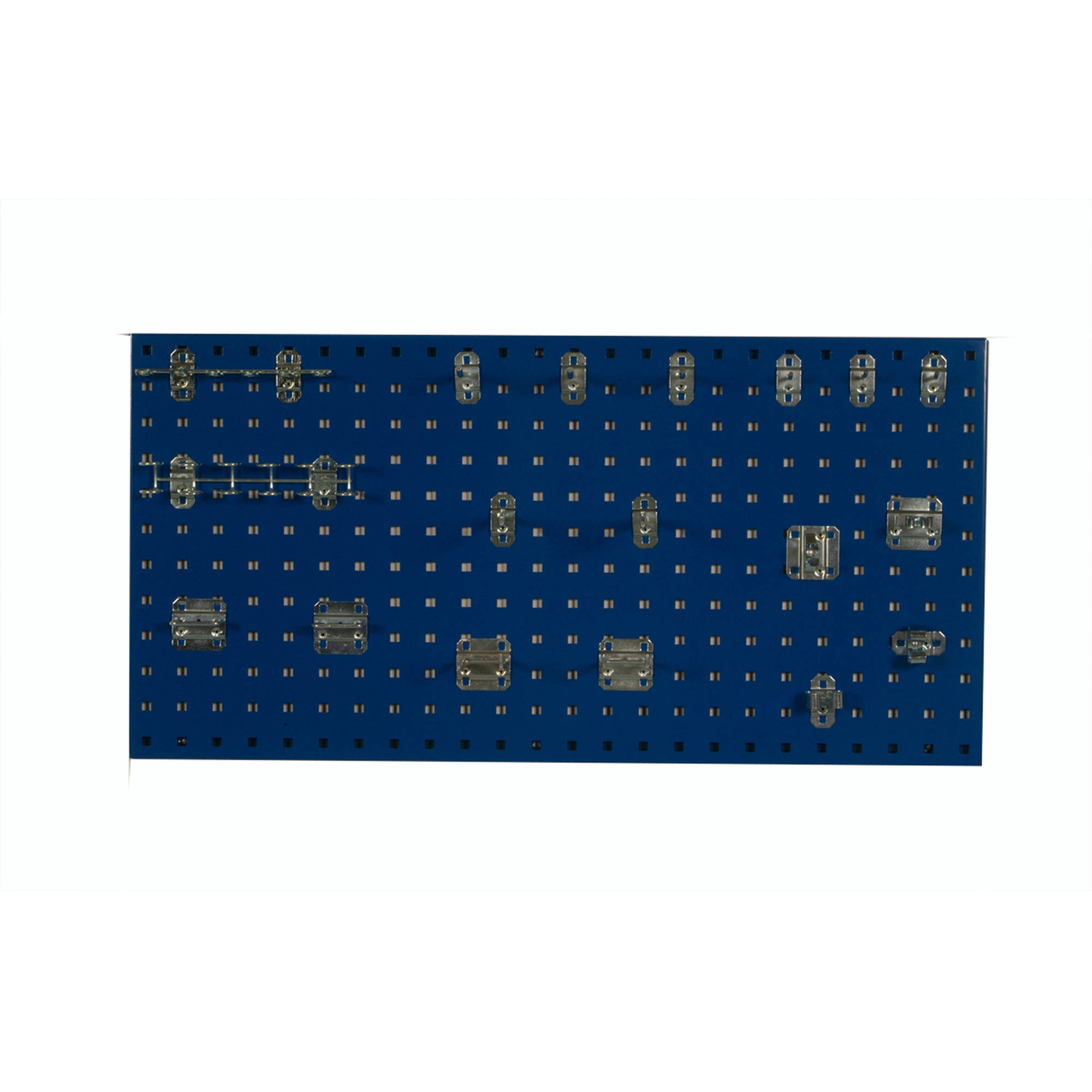 "LocBoard (1) 18""W x 36""H x 9/16""D Blue Epoxy, 18 Gauge Steel Square Hole Pegboards with 18-Piece LocHook Assortment and Includes All Necessary Mounting Hardware"