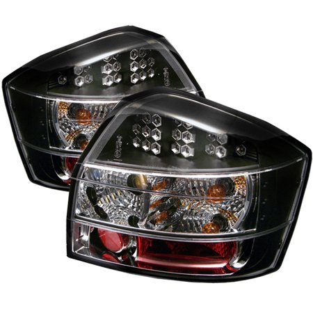 Fits 02-05 Audi A4 S4 4Dr Sedan Turbo Quattro Base JDM Black LED Tail Lights -