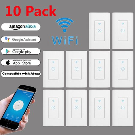 e059da5fafd4 (Pack of 10) Smart Light Switch, Smart Wifi Light Switch with Remote  Control and Timer, Works With home Assistant and IFTTT, No Hub required,  Easy and ...