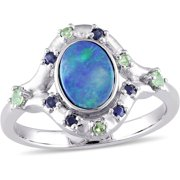 1-1/10 Carat T.G.W. Australian Green Opal and Sapphire with Tsavorite 10kt White Gold Cocktail Ring