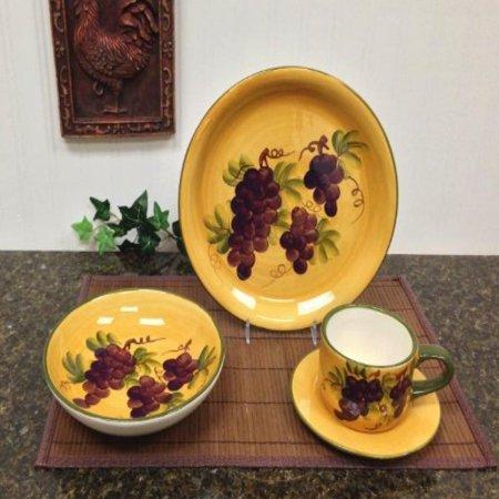 16 pc Dinnerware Set, Dinner Set Tuscany Grape Wine Decor - Walmart.com