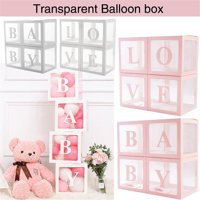 Baby Shower Boxes Party Decorations  4 pcs Transparent Balloons Decor Boxes with Letter, Individual BABY Blocks Design for Boys Girls Baby Shower Bridal Showers Birthday Party Gender Reveal Backdrop