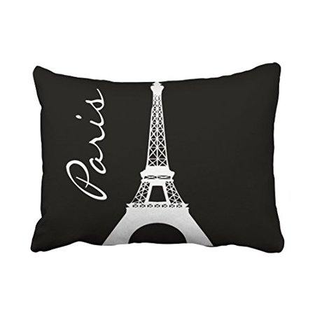 WinHome Decorative Black and White Tower Paris Throw Pillow Covers Printed Cushion Cases for Sofa Bed Pillow Decorative Size 20x30 inches Two Side ()
