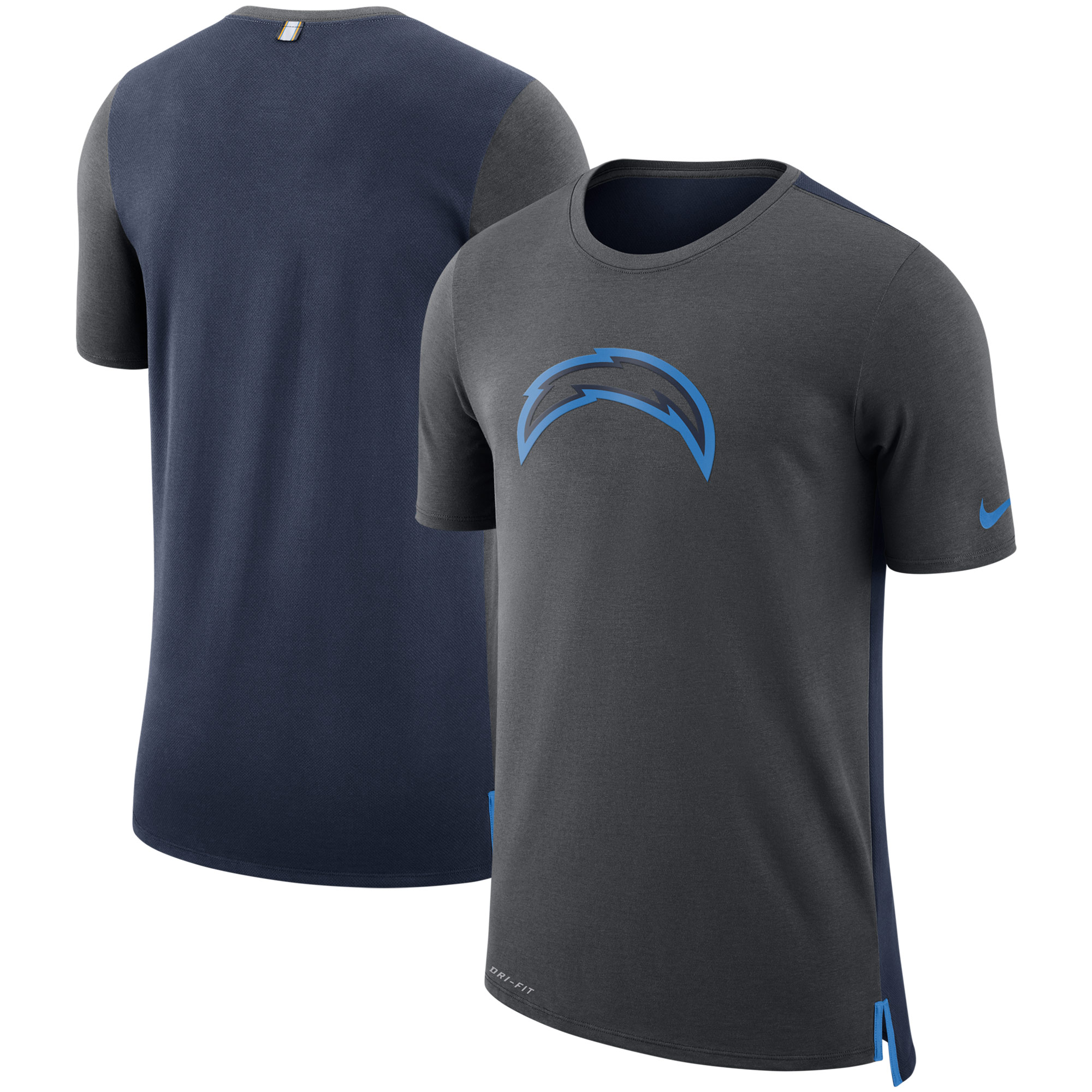 Los Angeles Chargers Nike Sideline Travel Mesh Performance T-Shirt - Charcoal/Navy