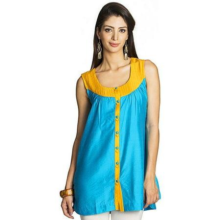 - MOHR Women's Sleeveless Tunic Shirt with Pintuck Yoke