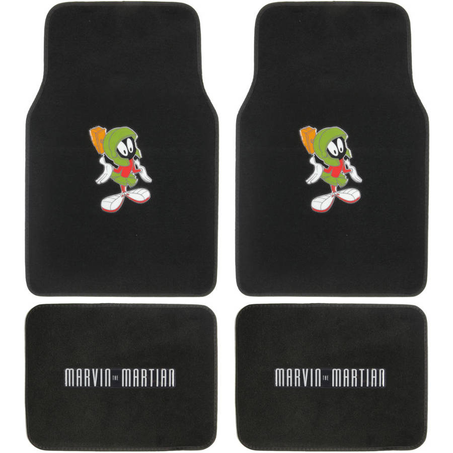 Marvin the Martian Floor Mats for Car, 4-Piece, Universal Fit, Looney Tunes Cartoon Design Auto Accessories