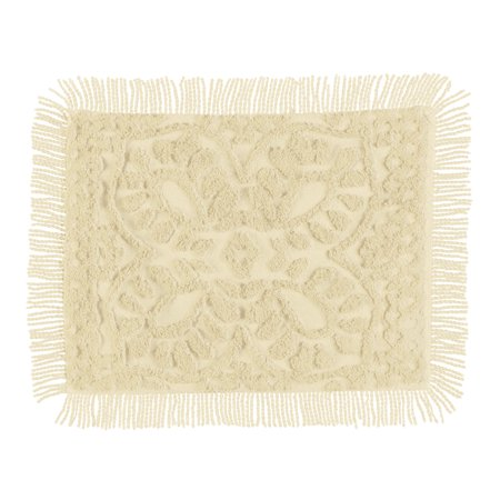 Collections Etc Antique Charm Chenille Pillow Sham Luxurious Medallion Scroll, Cream, Sham ()