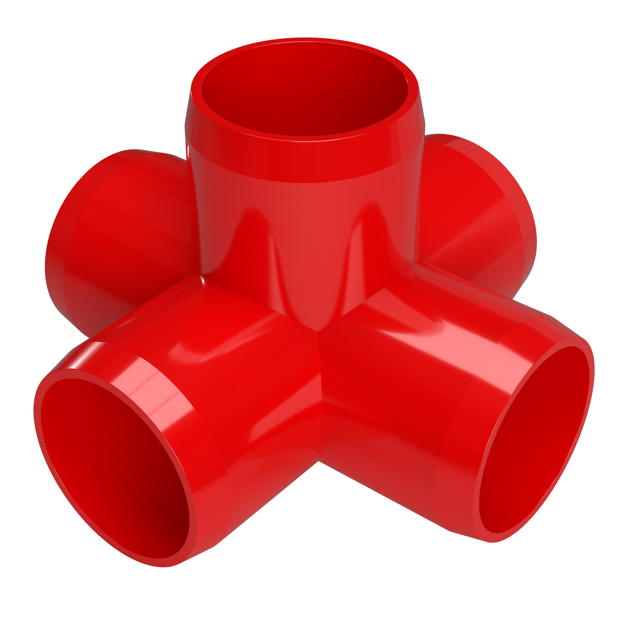 """FORMUFIT F0345WC-RD-8 5-Way Cross PVC Fitting, Furniture Grade, 3/4"""" Size, Red , 8-Pack"""