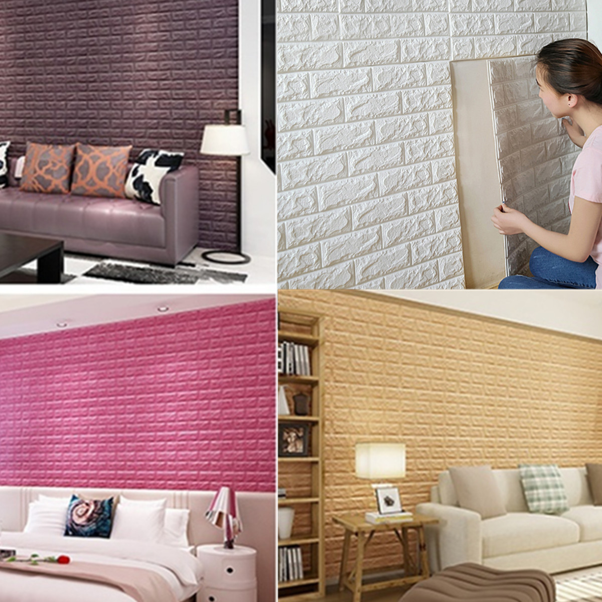 Peal and Stick PE Foam Waterproof 3D Wallpaper DIY Wall Stickers Embossed Brick Stone Wall Decor 23.6×23.6 inch Room Children Bedroom Decor Self-adhesive