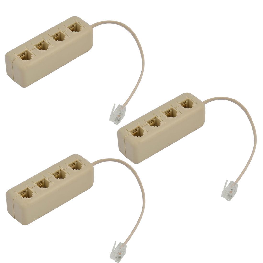 3pcs Telephone 6P4C RJ11 Keystone 1 Male to 4 Female Plug Cord Adapter Beige