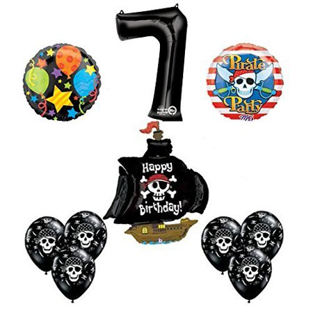Black Pirate Ship 7th Birthday Party Supplies and Balloon Decorations