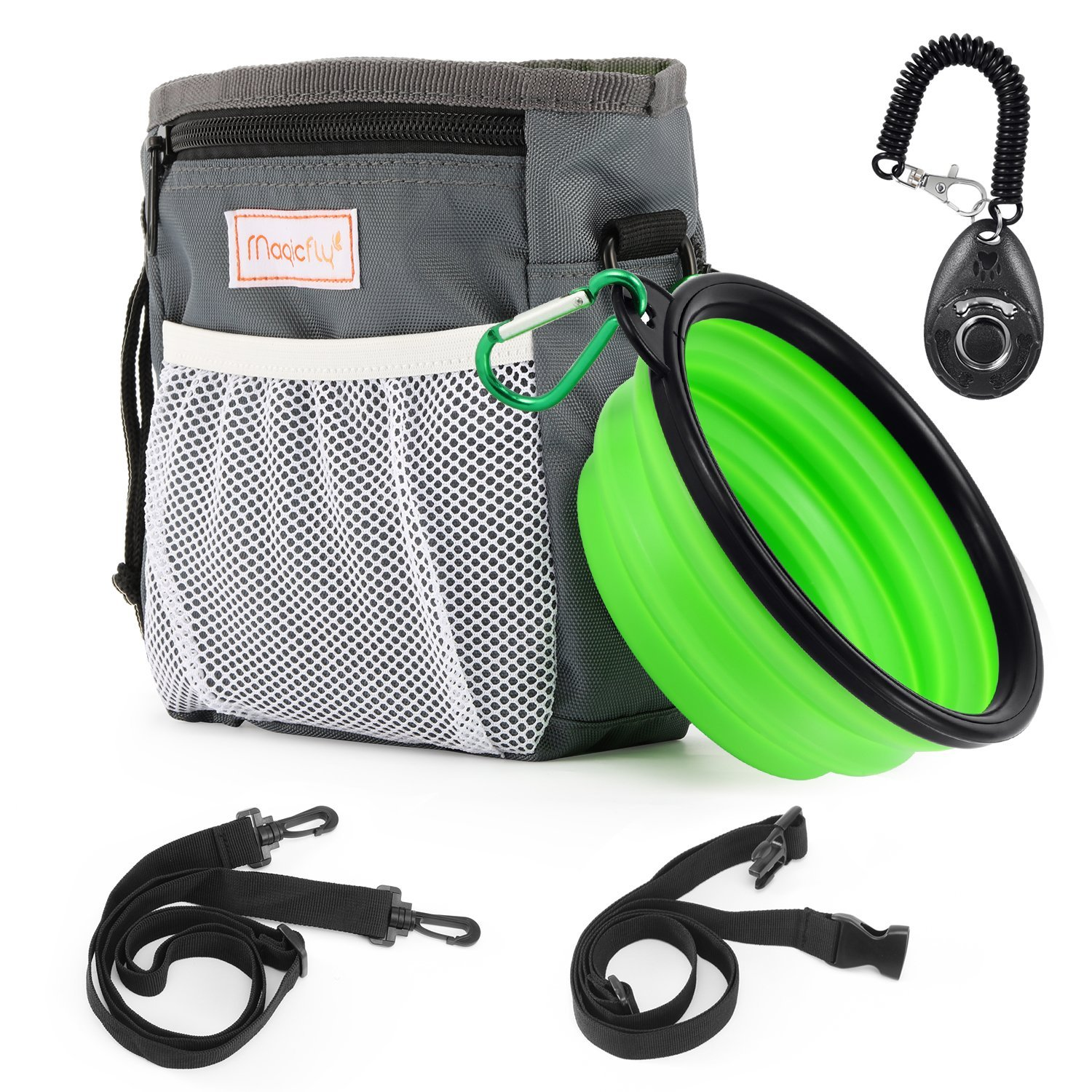 Magicfly Dog Treat Traning Pouch Bag with Collapsible Pet Bowl & Dog Clicker, Adjustable Belt With Dog Treat Pouch