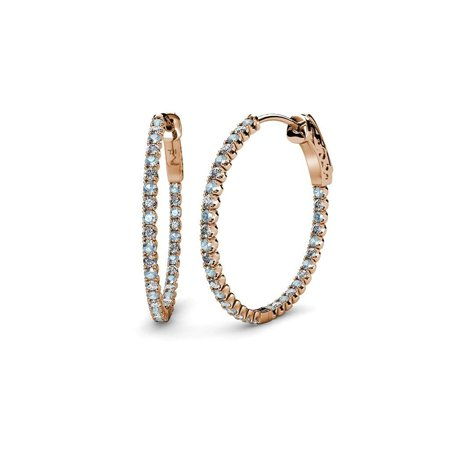 Aquamarine and Diamond (SI2-I1, G-H) Inside-Out Hoop Earrings 2.78 ct tw in 14K Rose Gold