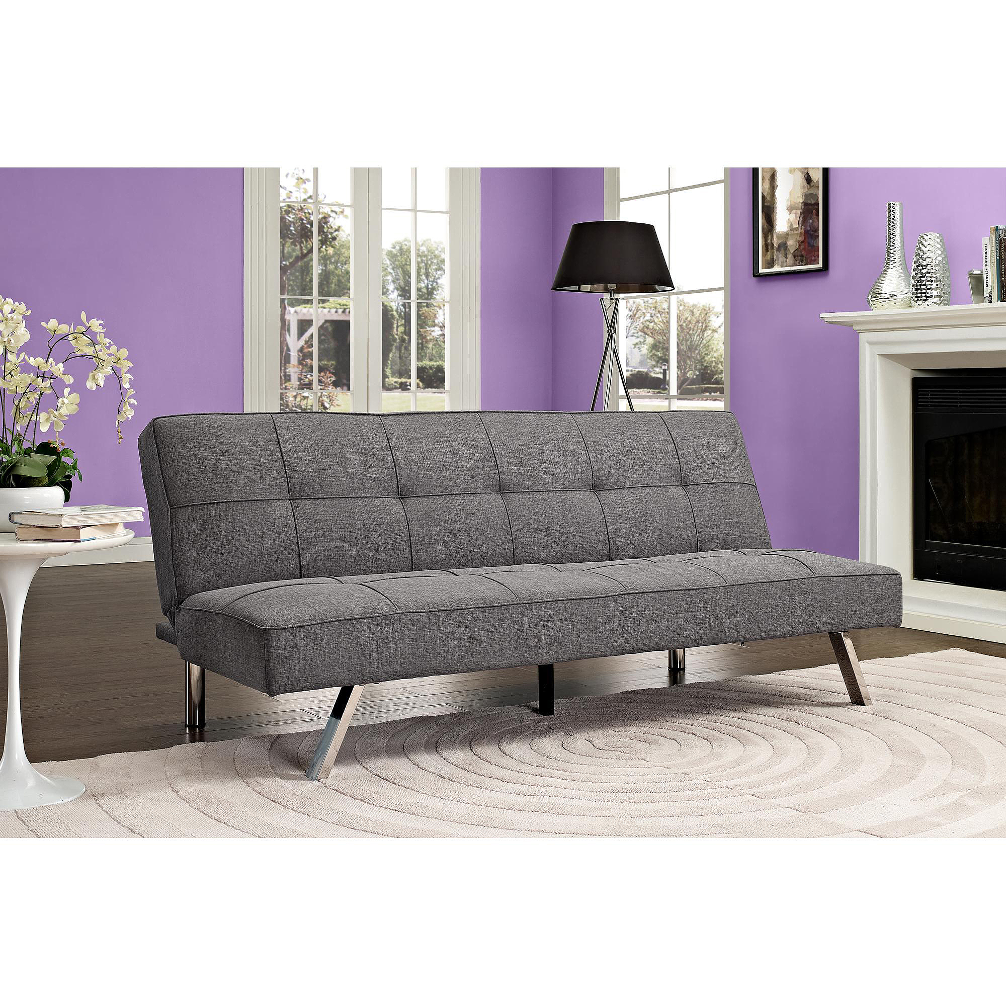 Zoe Convertible Linen Futon, Grey by Dorel Home Products