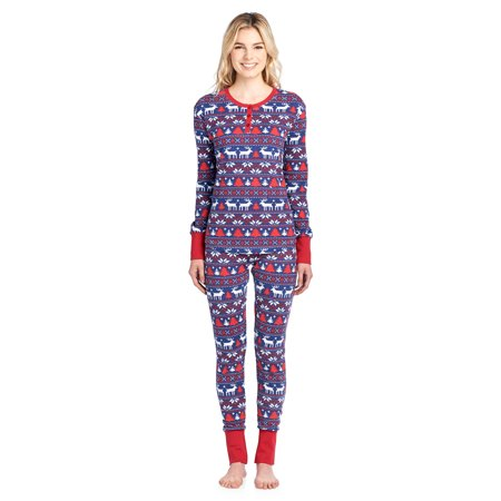Ashford   Brooks - Ashford   Brooks Women s Printed Thermal Waffle Knit PJ  Set - Navy Ivory Fair Isle - Large - Walmart.com 8643388c6