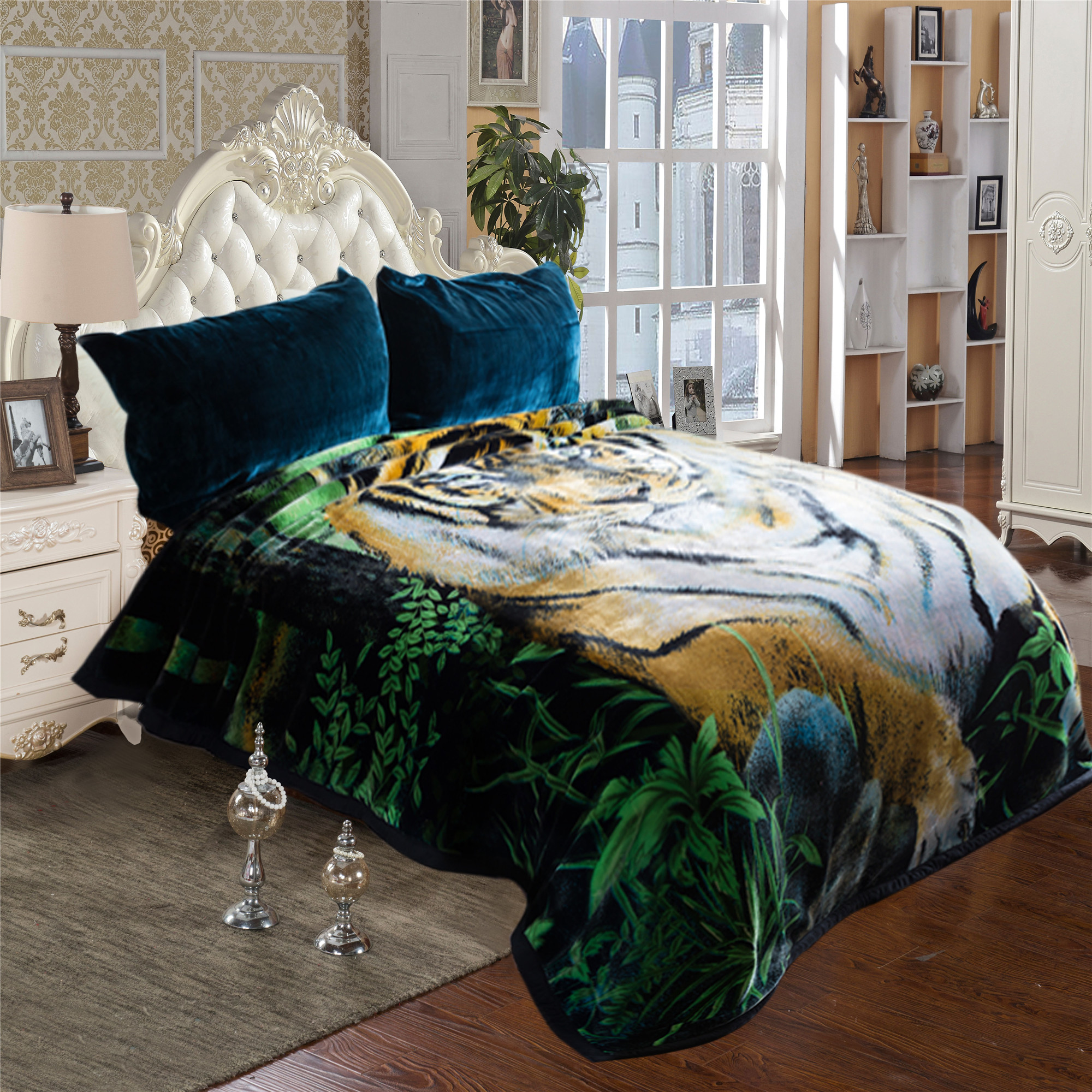 "Tiger Printed Cozy Warm Plush Fleece Blanket for Bed 2 Ply Heavy Thick Super Warm Winter Bed Blanket King 85"" x 95"",9lb"