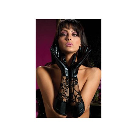 Seven til Midnight Dominatrix Lace/Lame Elbow Gloves 40113 Black