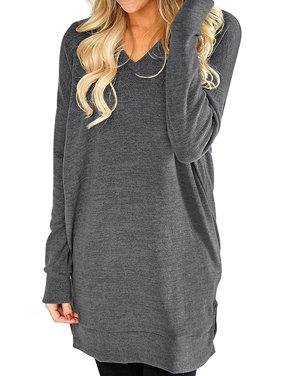 b88e9dae5c3 Product Image STARVNC Women Casual V-Neck Long Sleeves Pure Color Sweatshirt