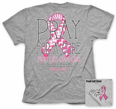Tee Shirt-Cherished Girl: Pray For A Cure-Large-Gray