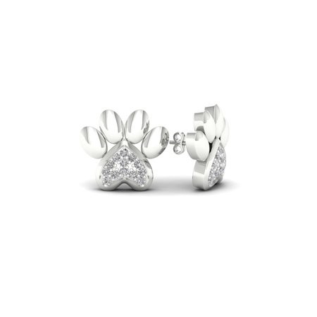 1/20Ct TDW Diamond 10K White Gold Accent Dog Paw Print earrings