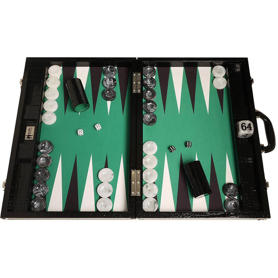 Wycliffe Brothers Tournament Backgammon Set, Black with Green Field, Gen III by Wycliffe Brothers