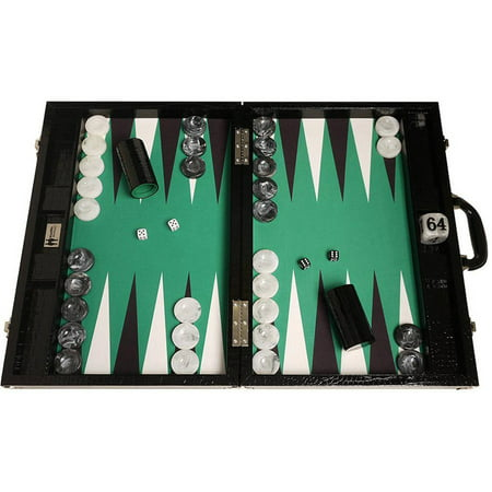 Wycliffe Brothers Tournament Backgammon Set, Black with Green Field, Gen III ()