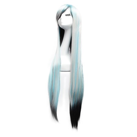 Dazone Halloween Wigs Long Straight Cosplay Costume Hair Multi-Color (Halloween Costumes With Long Black Dresses)