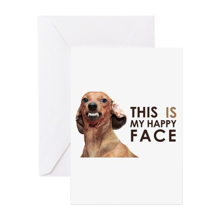 CafePress - Happy Face Dachshund - Greeting Card, Blank Inside Glossy