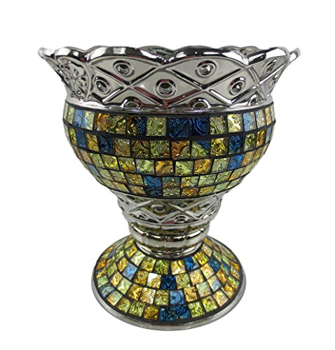 "Tall Decorative Ceramic & Glass Vase, 10"" x 10"" x 11 1/4""(H)"