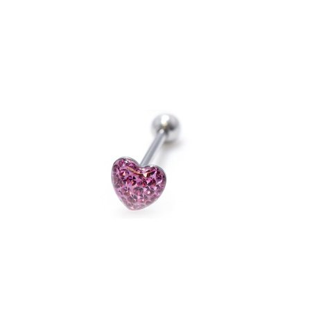 Multi Color Jeweled Flower - Jeweled Heart Barbell 16G Tongue Ring Tragus Cartilage - 4 Colors